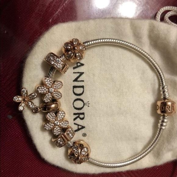 Pandora rose gold charm bracelet